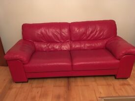 2no red leather sofas (2.2 metres) & matching Footstool