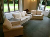 3 seater sofa, 2 seater sofa and chair (3 piece suite) with white removable covers