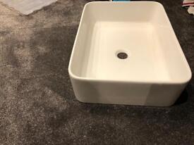 2x Saneux sit on Wash Basin 48cm x 37cm white