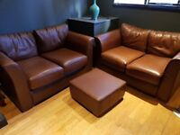 Matching 2x brown Leather sofas and 1x poof, must go before 24th Nov