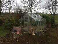 12ft x 8ft aluminium framed greenhouse with sliding door