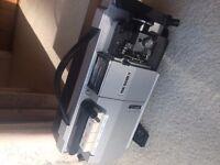 Vintage Prinz Magnon LV Super 8 Zoom projector and screen