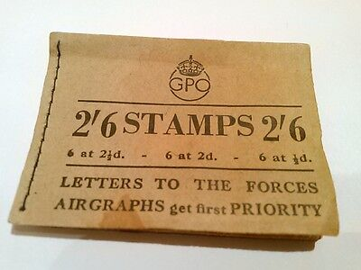 Great Britain KGVI:2/6d GPO Booklet, 18 Stamps, March 1944