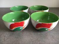 4 Kellogg's Cornflakes Cockerel Cereal Bowls