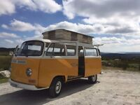 VW camper van RIGHT HAND DRIVE T2 early crossover type 2 bay window VGC long MOT, tax exempt 4 berth