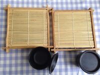 Japanese Cold Noodle (Zaru Soba, Zaru Udon) Tray and Dipping Cup Set