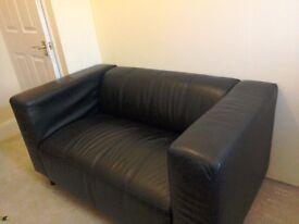Black leather sofa 2 seater