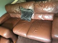 3 seater leather couch x2