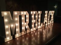LED light up letters LOVE MR & MRS wedding event bride party engagement backdrop props