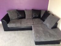 Ask for details BRAND NEW BYRON JUMBO CORD Corner Sofa In Grey With Scatter Cushions