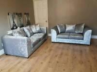 Silver color crushed valvet sofa