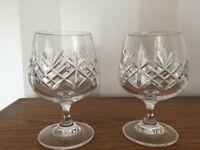 2 x Edinburgh Crystal Brandy Glasses Tall 12.25cm x Wide 8.25