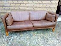 Vintage retro danish brown leather 2 seater sofa mid century modern couch