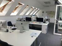 CHEAP desk spaces in bright, airy office space Clapham High Street