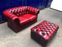 🎉🔥 immaculate chesterfield suite sofa & footstool oxblood leather