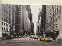 Medium size New York taxi glitter canvas picture