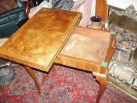 burr/walnut fold /over card games table q.ann,legs