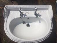 Rope design ceramic bathroom sink with chrome taps