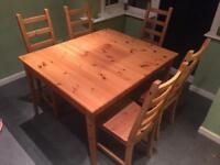 Ikea Table and Chairs (Solid Pine)