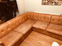 Large tan corner sofa for sale
