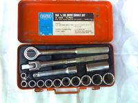 Socket Set, Draper, 15 piece AF, vintage, made in Japan, 15a, 1/2 inch, Square drive