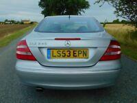 Mercedes CLK 240 2.6 V6 Avantgarde, Auto, Silver, Black Leather, Low Mileage, FSH, 17inch alloys