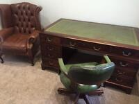 *WANTED* All leather leather top writing desks chesterfield chairs & sofas