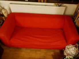 Ikea krippan sofa red