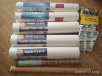 Six mixed rolls of wall paper, wall paper glue for 20 rolls and brown label roll