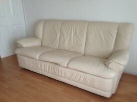 For sale cream leather sofa and chair
