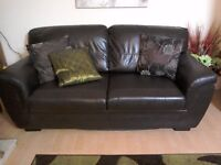 2+3 seat chocolate brown faux leather sofas..excellent condition...with free pouffe