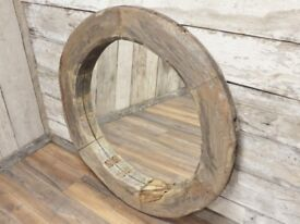 Original Reclaimed Cart Wheel Large Vintage Style Mirror 110cm
