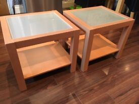 Pine veneer and frosted glass side tables