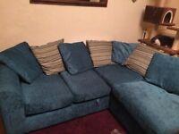 Teal Scatter Back Corner Sofa