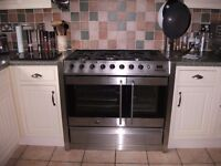 Belling platinum DB2 gas range cooker in stainless steel