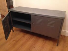 Industrial style cabinet - grey metal; cable holes; good for tv, stereo, drinks, paper, stuff, mess!