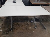 Flip-top white table, 5 available, £100 EACH