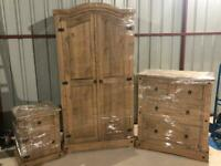 New Mexican pine 2 door robe 4 drawer chest of drawers and 1 locker all for £300 free delivery