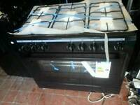 New range cooker black dual fuel top gas 90 cm wide