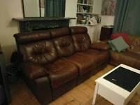 Free - large brown leather sofa with reclining legs