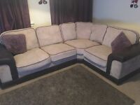 Large fabric and leather beige and leather corner sofa