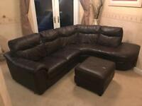 DFS Genuine Leather Corner Sofa - Brown & Foot Rest with storage - VGC