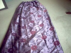Long Purple Curtains/Pleated Heading,