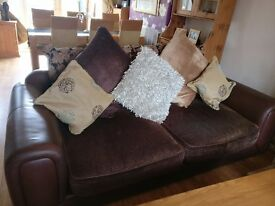 Chenille And Leather scatterback settees for sale