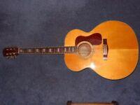 1999 fender sj64s jumbo solid top acoustic guitar made in korea