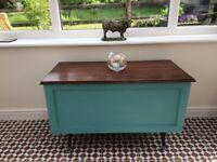 Retro 1950s / 60s mahogany storage chest / ottoman fully refurbished