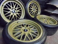 18inch BBS STAGGERED DEEP DISH GOLD alloys wheels audi a4 a6 5x112 golf vw caddy transporter t4 t3