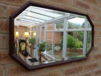 Antique 30's Art Deco Style Oak Framed Bevelled Mirror