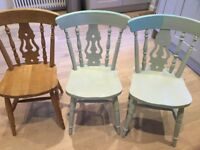 6 x Fiddle Back Dining Chairs (3 green, 2 white and 1 wood)