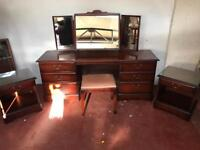 5 piece stag bedroom set consisting of bedsides, dressing table and stool